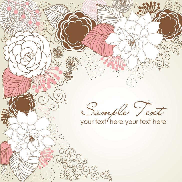 淡雅手绘花朵边框矢量素材,花纹花边,幽幽素材网